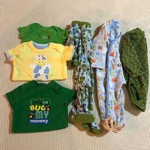 Baby boy 6-9 mo bodysuit and sleeper bundle